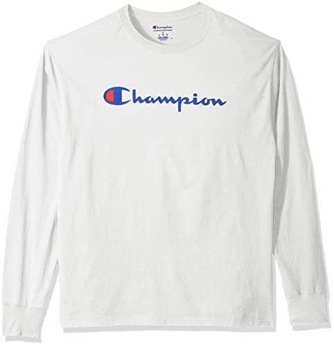 Champion Men's Graphic Classic Jersey LS Tee, White/White, XX-Large