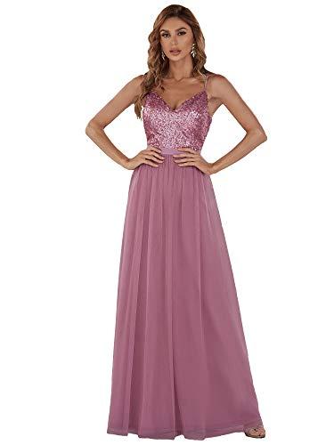 Ever-Pretty Vestido de Fiesta Noche Largo para Mujer Cuello V Espalda Descubierta Brillante Orquídea 42