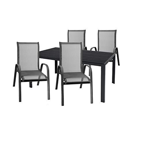 Mojawo Set da giardino di alta qualità, 5 pezzi, tavolo da giardino, 160 x 90 cm, antracite, polywood nero + 4 sedie impilabili in tessuto, nero/antracite
