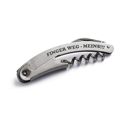 Kellnermesser Sommeliermesser Finger weg-Meins!!! aus Metall mit Korkenzieher und Flaschenöffner, Kellnerbesteck, Korkenzieher, Sommelierbesteck