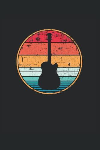 Guitarra acústica retro Guitarrista: Cuaderno punteado, Regular (6 'x9' (15,24 x 22,86 cm)), 120 páginas, papel crema, cubierta mate