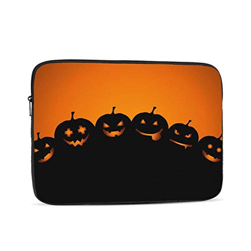Halloween Pumpkin Black Laptop Sleeve,Carrying Bag Chromebook Case Notebook Bag Tablet Cover,12 inch