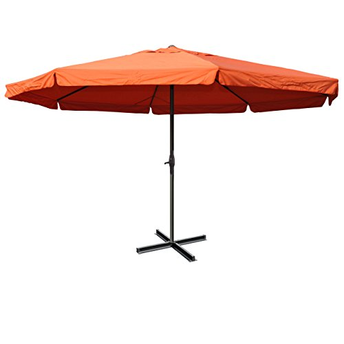 Sonnenschirm Meran Pro, Gastronomie Marktschirm mit Volant Ø 5m Polyester/Alu 28kg - Terracotta ohne Ständer