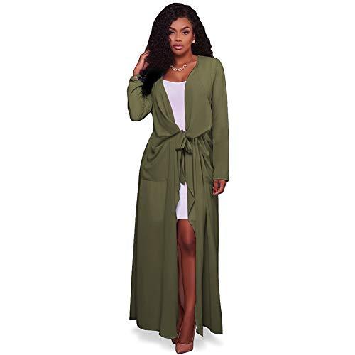 Yyh Cardigans damesjurk, lichte lange mouwen, waterval, vooraan, open, lang, cardigan, strandjurk Small groen (army green)