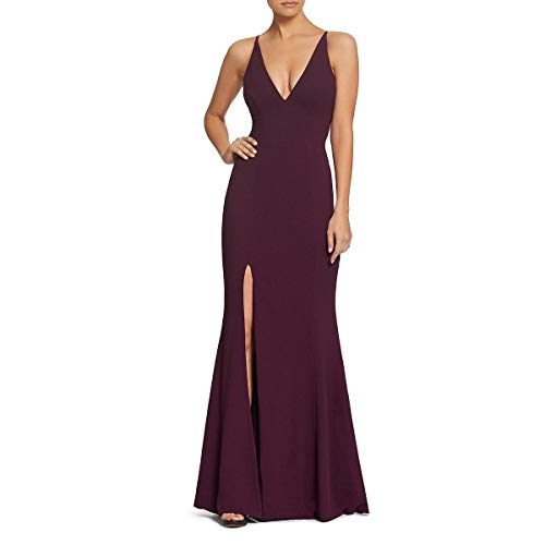 Dress the Population Women's Iris Spaghetti Strap Plunging Long Dress, Plum, Small (Apparel)