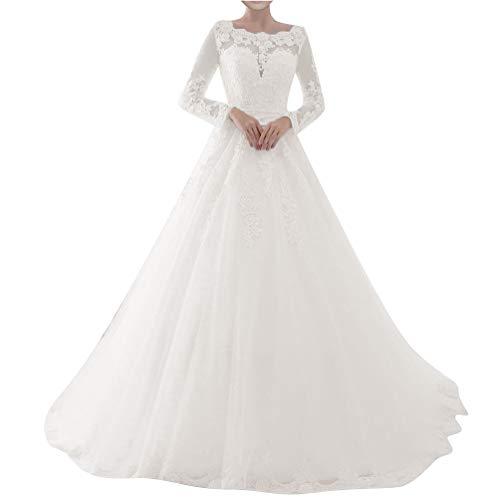Brautkleider Spitze A-Linie Hochzeitskleider Lang Schleppe Damen Langarm U-Boot Tüll Perlen Schleife Elfenbein 48