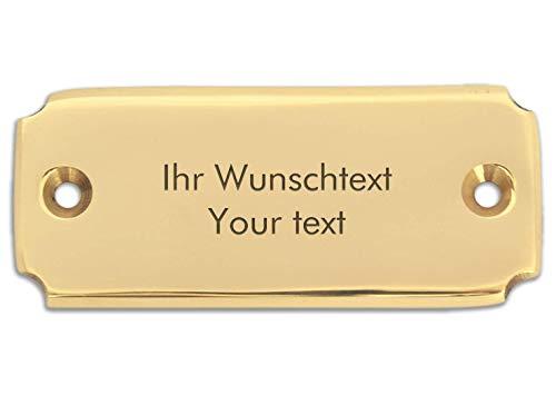 Klingelschild mit persönlicher Gravur, hochwertiges Messingschild, 62 x 25 mm, eckig - Türschild, Namensschild, Gravurschild