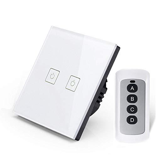 Interruptor Inteligente WLAN con Mando a Distancia, Panel táctil, Compatible con retroiluminación LED de 110 V hasta 220 V, Blanco