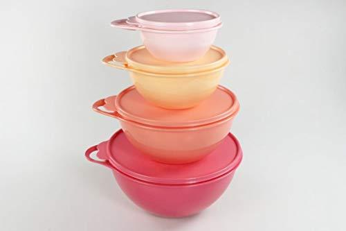 Tupperware Rührschüssel Maximilian 600ml rosa+1,4L orange+2,75L rot+4,5L rosa