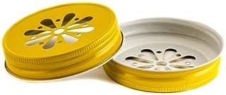 Daisy Straw Hole Lids for Regular Mouth Mason, Ball, Canning Jars (10, Yellow)