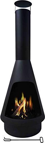 MaxxGarden - Helios Premium Gartenkamin Mit Auffangschale Für Asche - Windgeschützter Terrassenkamin - Outdoor Kamin Zum Relaxen - Terrassenofen (Ø45 x 135 cm) Schwarz