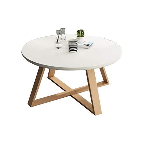 Tables en Bois Massif, Fin Balcon Simple Petite Table Ronde Meubles de Salon Tables Sofa Hôtel Appartement Tables Basses (Color : White, Size : 70 * 45CM)