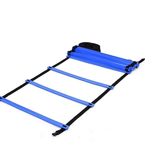 Escalera de agilidad Escalera de entrenamiento de velocidad 19 pies Escalera de velocidad de agilidad + 10 conos de disco para entrenamiento atlético Fútbol Fútbol Boxeo Footwork Sports(azul)