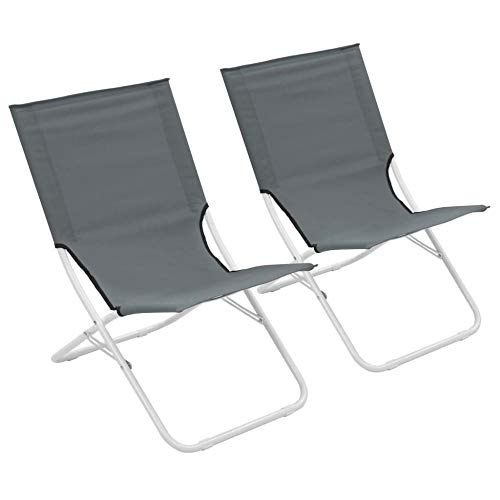 ALL-JingHong Sonnenliege verstellbar Wellnessliege Klappbare Strandstühle 2 Stück erhältlich Grau JH-358