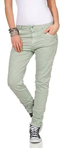 KAROSTAR Chino Damen Jeans Baggy Hose Boyfriend Hüfthose 19 (46, Mint)