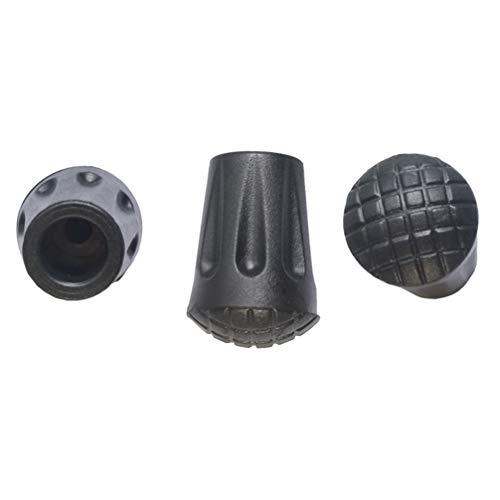 WINOMO 6 x 3,3 cm Ersatz-Gummispitzen für Wanderstöcke (schwarz)