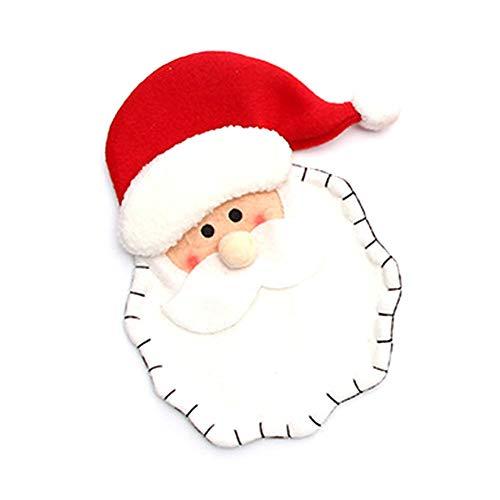 Oinna 1 funda de terciopelo para cubiertos navideños clásica, diseño navideño, decoración exquisita, para cubertería, hotel, restaurante, vajilla, decoración (patrón de Papá Noel)