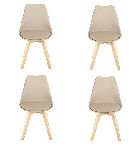 Silla nórdica simple oficina estudio de computadora silla silla comedor (Kaki, juego de 4 piezas)