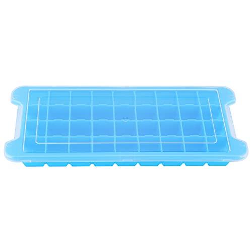 Molde de hielo, bandeja de cubitos de hielo duradera para congelar café, frutas, vino y otros artículos (azul con tapa)