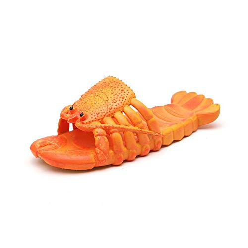 Siunwdiy Lobster Fun Parent Child Slippers Summer Lobster Slippers Fun Animal Room Shoes Beach Swimming Pool Slippers Creative Shower Sandals Casual Slippers,Orange,32/33