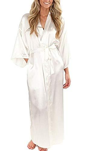 Mujeres Camisón De Seda Largo De Satén Especial Estilo De La Boda De La Novia De Dama De Honor Túnica Kimono Robe Femme Bata De Baño Negligee (Color : Blanco, Size : L)