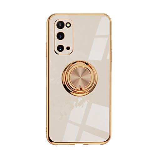 Handyhülle Kompatibel mit Samsung Galaxy S20 FE Hülle Silikon TPU Ultra Dünn Hülle mit 360 Grad Ring Ständer Bumper Schutzhülle Fingerhalter Magnetische Autohalterung Stoßfest Cover (Rose Golden)