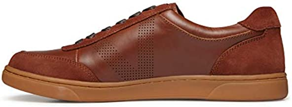 Vionic Men's Mott Brok Lace Up Sneaker - Leather Walking Shoes with Concealed Orthotic Arch Support Dark Brown 10 Medium US