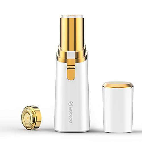 MOOSOO rasierer damen, Gesichtshaarentferner Damen, Elektrorasierer mit LED-Licht für Wangen, Lippen, Achselhöhlen, Arme, Beine und Rücken
