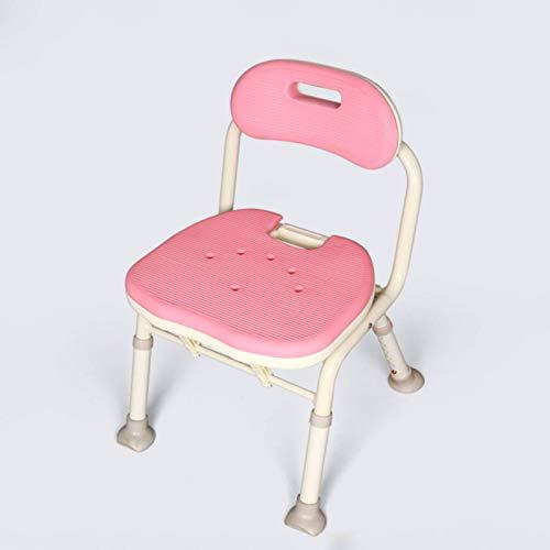 XIONGXIONG Sedia da Bagno in Alluminio Sedia da Bagno per Donne Incinte Pieghevole Regolabile Rossa Sedia da Bagno per Anziani con SchienaleBagno Esterni (Size:41x40x57-67cm; Color:Pink)