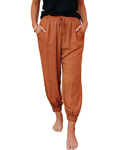 Nirovien Women's Casual Elastic Waist Drawstring Pants Ankle Length Jogger Cropped Trousers with Big Pockets(Camel,L)