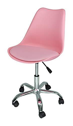Sedia da Ufficio Girevole, Sedia da scrivania Rosa con rotelle MOD. Sally