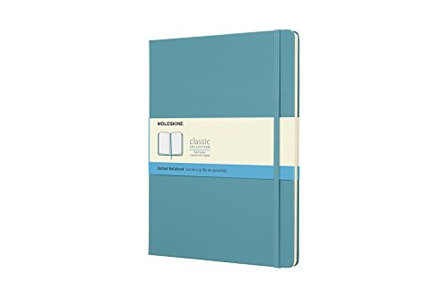 Moleskine Classic Notebook, Hard Cover, XL (7.5' x 9.5') Dotted, Reef Blue
