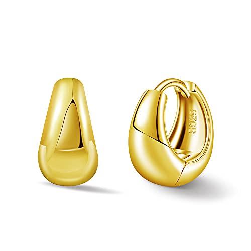 【Amazon限定ブランド】 フープ ピアス レディース ジルバー925 ピアス 金属アレルギー対応 リング 18k 出勤 小ぶり 女性(ゴールド)
