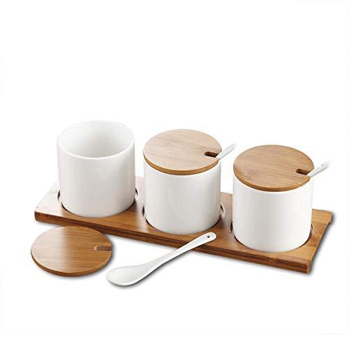 Serviesgoed doos kruiden Kruidenpotje fits drie stukken van keramische deksel verticale bamboe,de