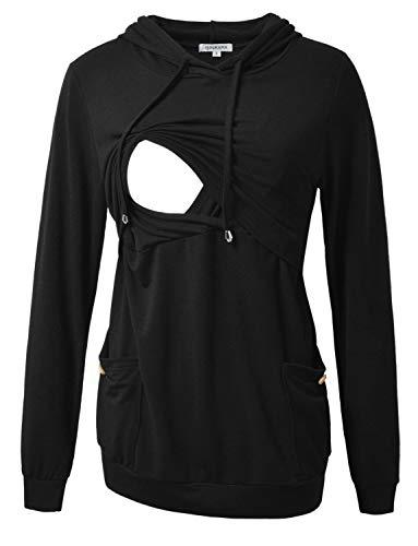 GINKANA Women's Maternity Nursing Hoodie Long Sleeves Shirts Breastfeeding Tops Clothes,Black,L