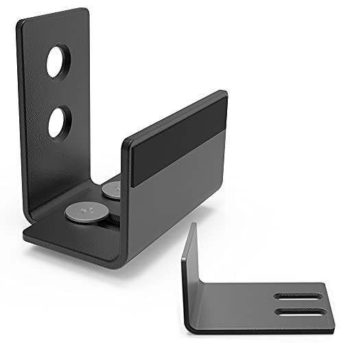 skysen Barn Door Bottom Floor Guide with Extend Bracket Wall Mounted Adjustable Flush Bottom Matte Black (711)
