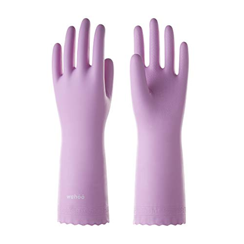 LANON Wahoo PVC Household Cleaning Gloves, Reusable Dishwashing Gloves with Cotton Flocked Liner,...