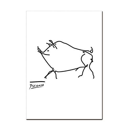 Fymm- Shop Minimalistische Linie, Leinwand mit Tierdruck, Wandbild, dekoratives Schild, 40 x 50 cm (Sl0411)