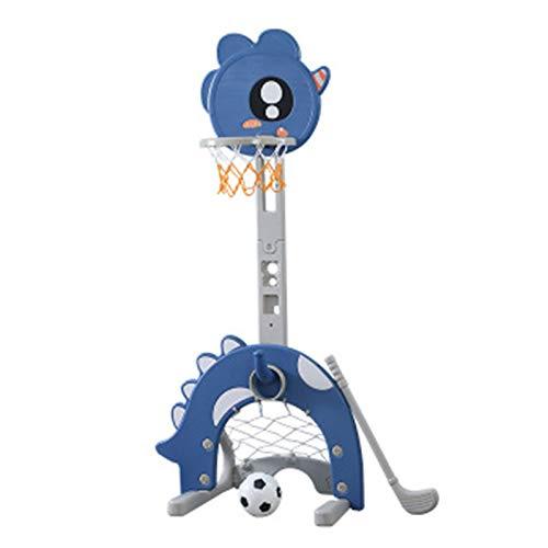 BYASW Canasta de Baloncesto de Pie Altura Ajustable Canasta de Baloncesto para Niños con Portería de Fútbol y Golf Juguete para Interior y Exterior