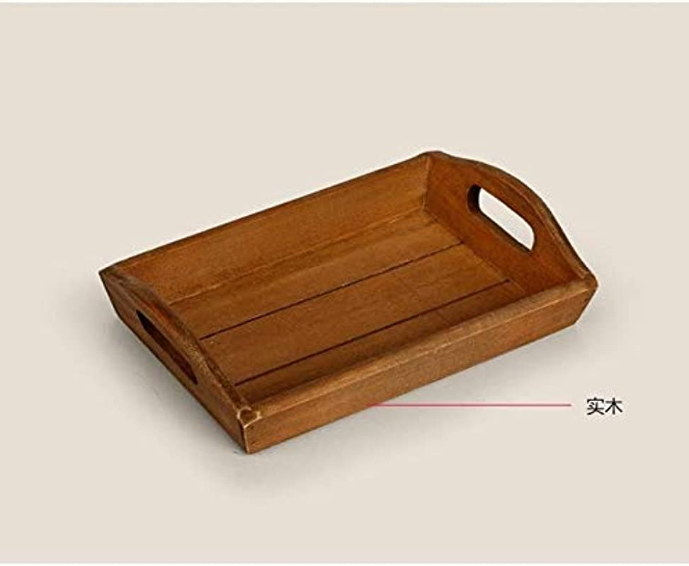 BeesClover 1PC Japanese Zakka Manual Old Wooden Tray Grocery Square Real Wood Fruit Hotel Restaurant Wood Plate J0911 Show