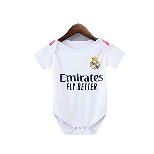 LCHENX-Unisex Neugeborene Baby Weste Bodysuit Fußballtrikot Real Madrid Fans Strampler für Jungen Mädchen Geschenk,Weiß,6~12 Months