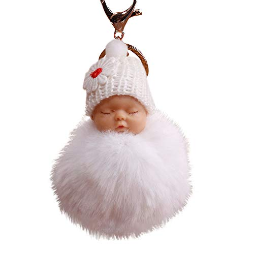 callm Cute Fur Fluffy Pompom Sleeping Baby Doll Keyrings Bags Charm Pendant Carabiner Shape Keychain Key Chain Ring Keyring Keyfob Key Holder (White)