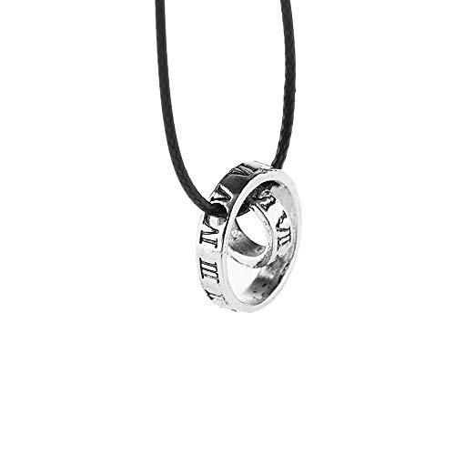 AMITD Modische Herren-Halskette mit Anhänger mit römischen Ziffern, Kreisschnalle, Lederseil, 1 Stück