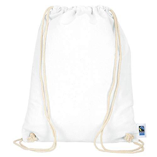 MyShirt Turnbeutel aus Fairtrade Baumwolle 38cm x 46cm Rucksack Sportbeutel, Farbe:weiß