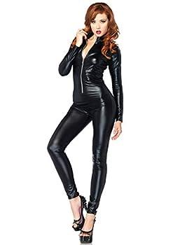 Leg Avenue Women s Wet Look Zipper Front Catsuit Costume Medium