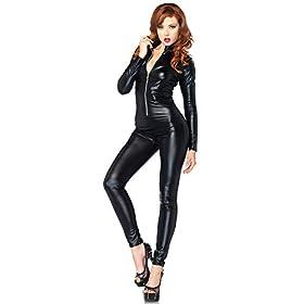 Leg Avenue Women's Wet Look Zipper Front Cat Suit
