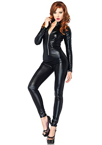 Leg Avenue Women's Front Zipper Black Catsuit, Medium