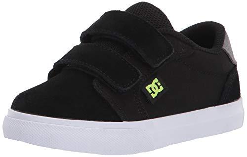 DC Boys' Anvil V Skate Shoe, Black/Grey/Yellow, 9 Medium US