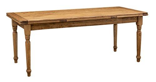 Biscottini Table à rallonge en Bois Massif de Tilleul, Finition Noyer L200xPR90xH80 cm