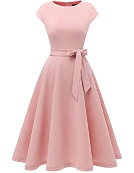 Women Casual Tea Dress Aline Swing Vintage Cocktail Dresses Women s Wear to Work Dresses Modest Church Formal Dress Flared Bridesmaid Dress for Homecoming Blush M
